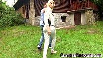 Стильная блондинка в штанишках отдалась провинциалу